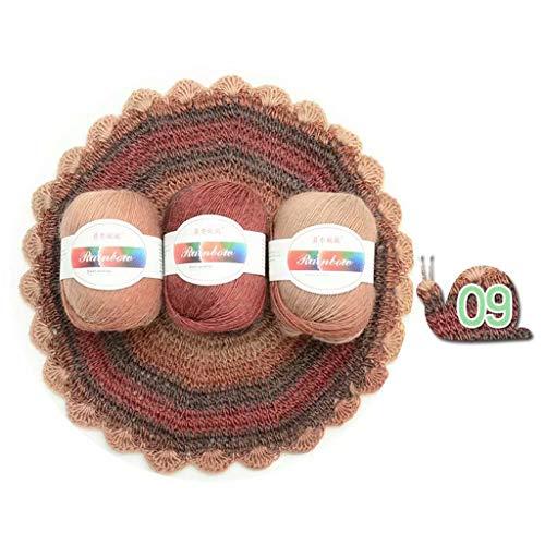 FOLODA Lana suave de hilo peinado, arcoíris, para manualidades, punto de lana, bufanda, suéter, hilo de ganchillo