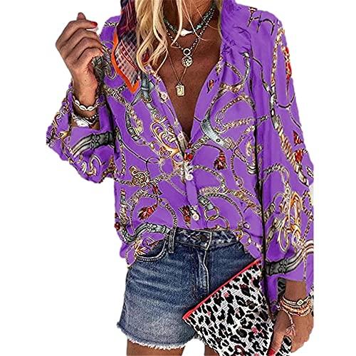 Top Donna A Maniche Lunghe Donna Sexy con Scollo A V Moda Tendenza Stampa A Catena Camicetta Donna Primavera Estate Vacanza per Il Tempo Libero Confortevole Donna T-Shirt F-Purple XXL