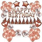 SHLMO Paquete de cumpleaños con letras de oro rosa con lentejuelas de oro rosa y borla de oro rosa de 45,7 cm, globo de película de aluminio de cinco puntas