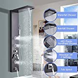 <span class='highlight'><span class='highlight'>Suguword</span></span> Waterfall Rain Shower Panel Tower Shower Stainless Steel Shower Column w/Body Massage Jets Hand Shower Tub Spout Wall Mounted