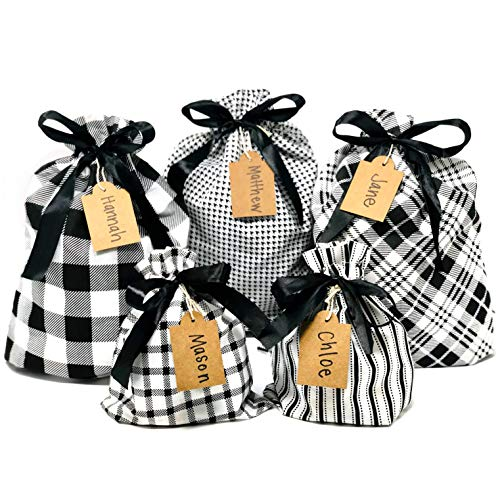 Appleby Lane Fabric Gift Bags (Standard Set, Plaids & Stripes) Set of 5 100% Cotton Bags, Three 16'x12' and Two 10'x8'
