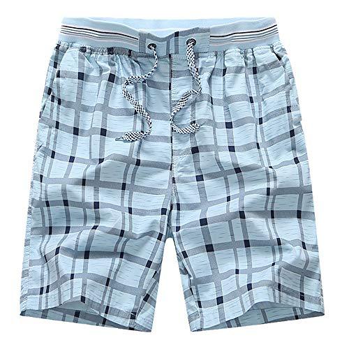 N\P Verano Rojo Cuadros Cortos De Los Hombres Rectos Sueltos Casual 5 Puntos Pantalones De Usar Pantalones De Playa