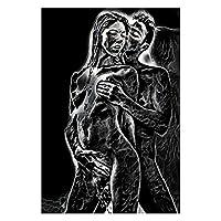 キャンバスポスターとプリント、人間と自然の描画スノーヒョウと裸の女性キャンバス絵画の壁アートの写真のためのリビングルームの家の装飾、フレームレス,70X90cm