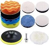 11 almohadillas de pulido para 5 pulgadas de lana de esponja, almohadillas pulidoras para coche, discos y pulidoras compuestos, juego de accesorios con adaptadores M14 para pulir, lijar, encerar