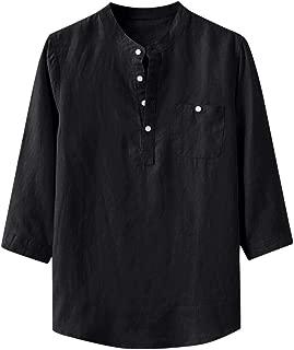 Men's Tops Beach Print Long Sleeve Shirts Button Up T-Shirts Retro Turn Down Collar Henley Tops