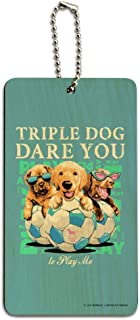 Triple Dog Dare You Puppies Soccer Wood Luggage ID Tag