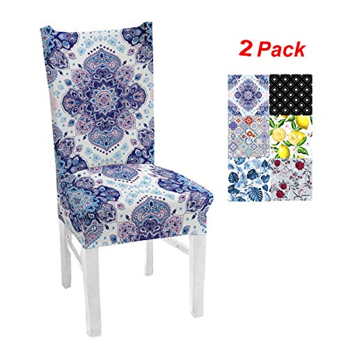 Mejor GBTRICON Spandex Elastic Printed Dining Chair Slipcover Modern Removable Anti-Dirty Kitchen Seat Case Chair Covers for Banquet crítica 2020
