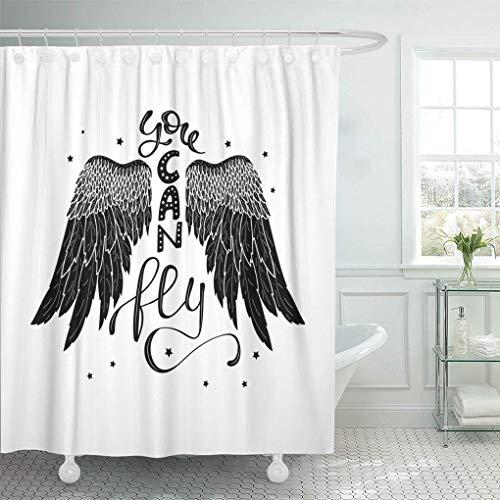 Ganchos de cortina de ducha de tela impermeable que puede volar Cita inspiradora sobre la frase de libertad en alas de pájaro de ángel Letras Boho para camiseta Baño inodoro Ecológico Anti bacteriano