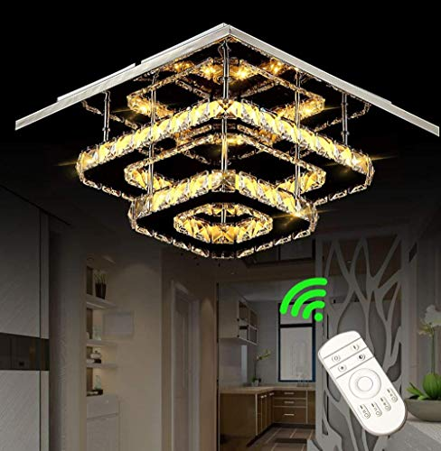 Plafoniera in cristallo, plafoniere dimmerabili da 36 W con telecomando, lampada moderna a LED con lampadario quadrato per camera da letto, soggiorno, cucina, sala da pranzo