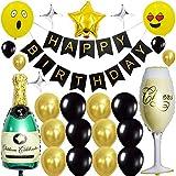 SZWL Decoración de Cumpleaños Negra y Dorada, Decoraciones de Fiesta de Cumpleaños, Globos de Fiesta para Suministros de decoración de Fiesta de cumpleaños para niños y Hombres - 45Pcs