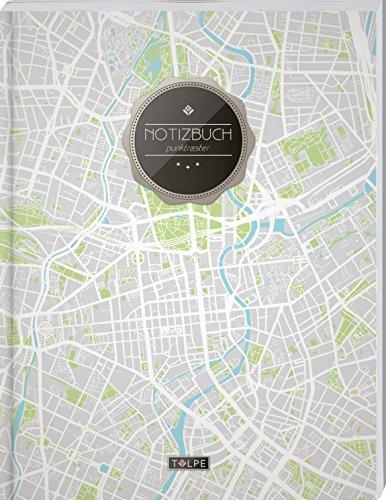 """TULPE Punktraster Notizbuch A4 """"C096 Berliner Stadtplan"""" (140+ Seiten, Vintage Softcover, Punktkariertes Papier - Bullet Journal, Dickes Notizheft, ... Gepunktete Seiten, Dot Grid Notebook)"""