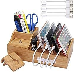 Pezin & Hulin Bambus-Ladestation, mehrere Geräte Organizer für Handys, Tablets, Büros, Desktop, Holz-Docking Stations (inklusive 5 x Ladekabel), Aufbewahrungsbox für Stifte, Schlüssel, Fernbedienung