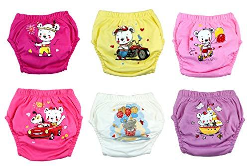 Ozyol - Juego de 6 pantalones de entrenamiento para aprender a ir al baño, reutilizables, pañales, para niños pequeños, ropa interior para aprender a ir al baño Oso para niña. 100 cm