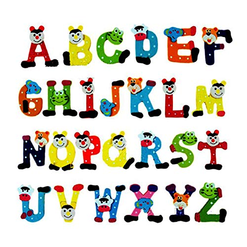Yanqhua Imán de refrigerador Alfabeto de Madera Alfabeto A-Z Imanes Juguete Juguete English Letras Frigorífico Imán Niños Alfabeto Frigorífico Imán (Color : 26 pcs)