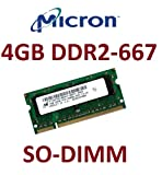 Micron Original 4 GB 200 pin DDR2-667 SO-DIMM (667Mhz, PC2-5300U, CL5) für DDR2 Notebooks + 2007 / 2008 Apple MacBook + MacBook Pro Modelle