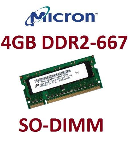 Micron Original 4 GB 200 pin DDR2-667 SO-DIMM (667Mhz, PC2-5300U, CL5) für DDR2 Notebooks + 2007 / 2008 Apple MacBook + MacBook Pro Modelle
