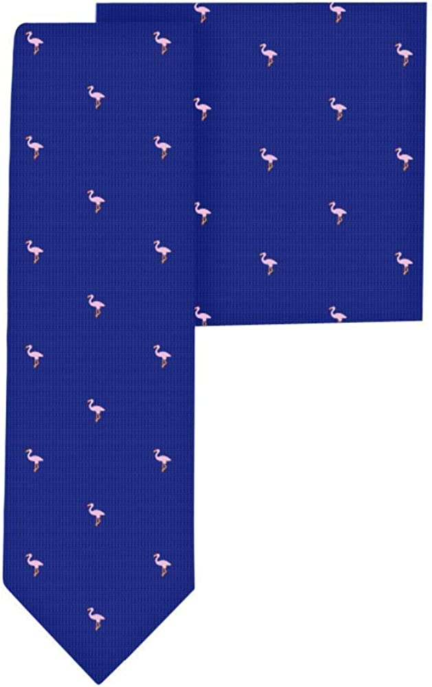 Navy Pink Flamingo Skinny Tie Pocket Square Gifts for Me Special price a San Diego Mall limited time Set