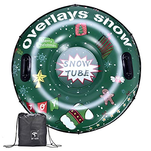 GP TOYS Winter Snow Tube - Inflatable Sled for Kids and Adults, Large 47 Inches Heavy Duty Sledding Tubes for Winter Snow Outdoor Activity
