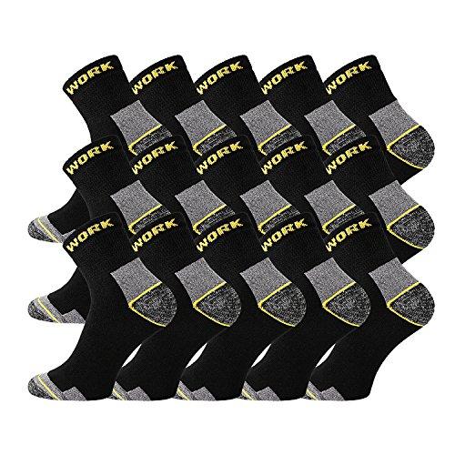 TippTexx24 6/9/12/15/18/21 Paar Arbeitssocken, Worker-Socks, normallang oder Kurzschaft-Sneakerform (43/46, kurz 15 Paar)