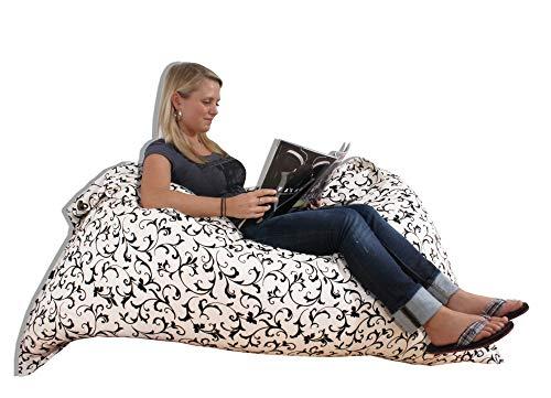 Beauty.Scouts Kinzler Sitzsack Mira IV Indoor geeignet weiß braun mit Muster 140x180cm Entspannungssack Liegesack Sitzkissen Liegekissen Farbe weiß