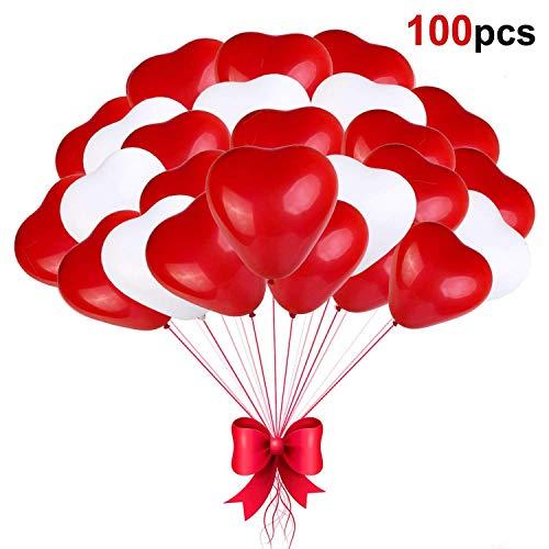 Sinwind Palloncini Cuore Rosso Bianco, 100 Palloncini Matrimonio Cuore , Palloncini a Forma di Cuore Elio per Matrimoni, Anniversari, San Valentino,Festa Evento Cerimonia Decorazione Romantico Amore