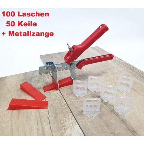 Fliesen Nivelliersystem Rot Fliesenstärke 3-12 mm Starter-Set 2 mm 100 Laschen 50 Keile + Zange -Verlegesystem Fliesenverlegung Fliesenverlegehilfe Fliesenverlegesystem Fliesennivelliersystem