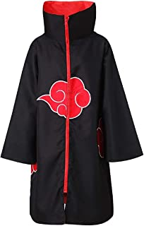 Partyever Unisex Akatsuki Organization Members Cosplay Cloak Halloween Cosplay Costume Uniform Ninja Robe with Headband