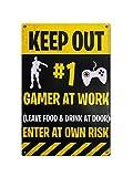 Boggevi Kells Gaming Targa in latta per porta – Keep out #1 Gamer at Work Novità gioco regalo per giocatori ossessivi – Targa in metallo regalo 200 mm x 300 mm – TPH0030