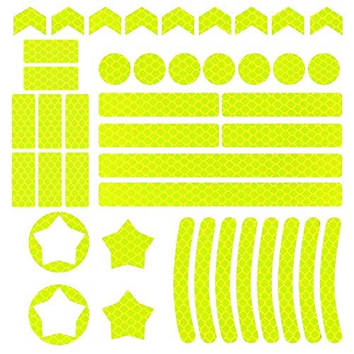 AODOOR Set di 42 adesivi catarifrangenti per bicicletta, riflettori, autoadesivi, riflettori, per passeggini, biciclette e caschi (verde fluorescente)
