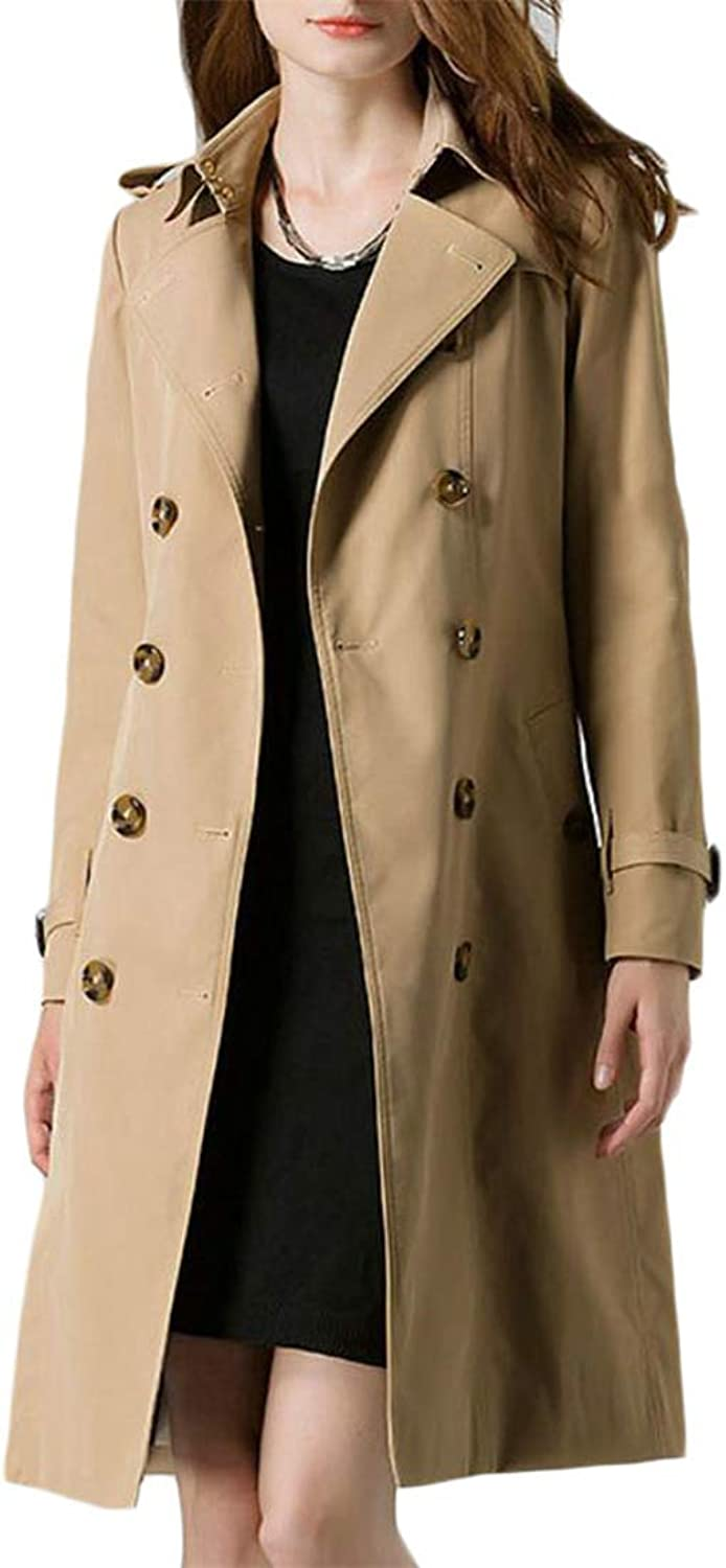 Etecredpow Women Belted MidLong Outerwear Stylish Lapel Double Breasted Trench Coat