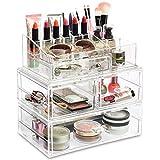 Ikee Design 3Pcs Set Stackable Premium Makeup Storage Organizer, Bathroom Makeup Storage, Makeup Station Organizer, Cosmetic Jewelry Organizer Makeup Holder, Cosmetic Organizer for Vanity