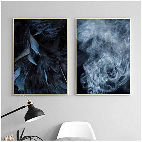 xwwnzdq blauwe veer rok muurkunst canvas schilderij landschap Nordic poster en afdrukken muurschilderingen voor woonkamer wooncultuur 50x70 cm x 2 geen lijst