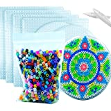 MotBach 7pcs 5mm Large Fuse Beads Boards,Clear Plastic Pegboards for Kids Craft Beads,with 4 Large Square Fuse Beads Boards,3 Circular Pegboards,with 2 Bead Tools,1000pcs Mixed Color Fuse Beads