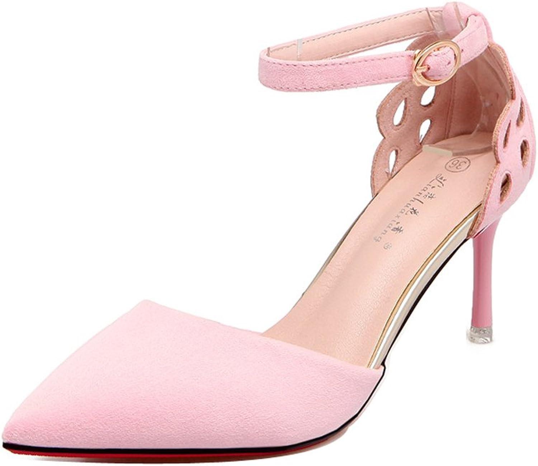 Ladola Womens Adjustable-Strap Professional Ankle-Strap Suede Pumps shoes