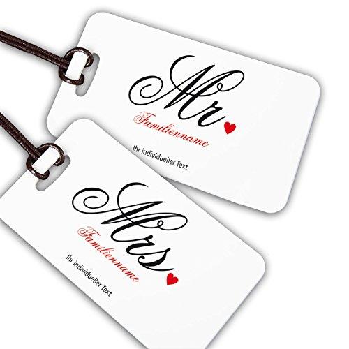 Herz & Heim® Kofferanhänger als Geschenk zur Hochzeit u. Flitterwochen mit Aufdruck des Namens und Adresse