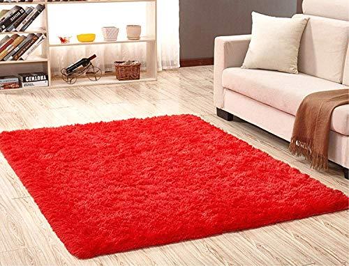 LIYINGKEJI Alfombras Modernas Super Suaves de la Pelusa, 80X120 CM, Dormitorio Sala de Estar Alfombra Antideslizante Alfombra de la Alfombra para el Juego de los niños Decora el (Rojo)