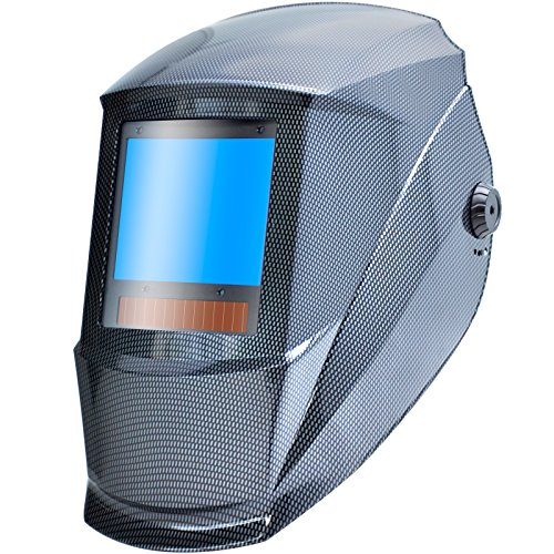 Antra AH7-X90-001X TOP Optical Class 1/1/1/1 Digital Controlled Solar Powered Auto Darkening Welding Helmet Wide Shade 4/5-9/9-13 With Grinding Feature Extra Lens CoversGreat for TIG, MIG, MMA, Plasma