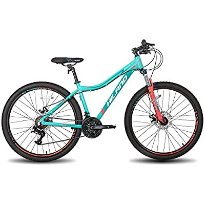 Hiland 26 Inch Mountain Bike Aluminum 24 Speed MTB Bicycle for Women 16 Inch with Suspension Fork Urban Commuter City Bicycle Mint Green