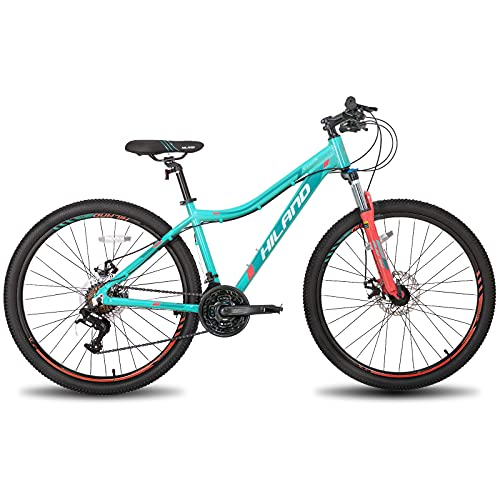 Hiland 26/27.5 Inch Mountain Bike Aluminum Frame 24 Speed Dual Disc with Lock-Out Suspension Fork for Woman