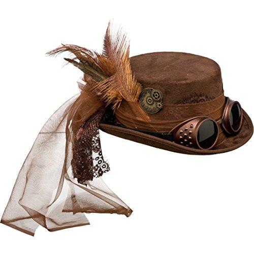 NET TOYS Sombrero Steampunk Sombrero de Copa gótico marrón Gorro Vic