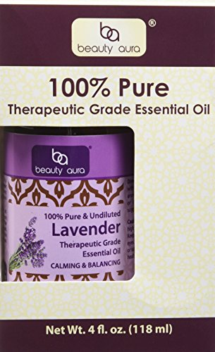 Beauty Aura 100% Pure Lavender Essential Oil - 4 oz Bottle Therapeutic Grade Essential Oils – Ideal for Aromatherapy