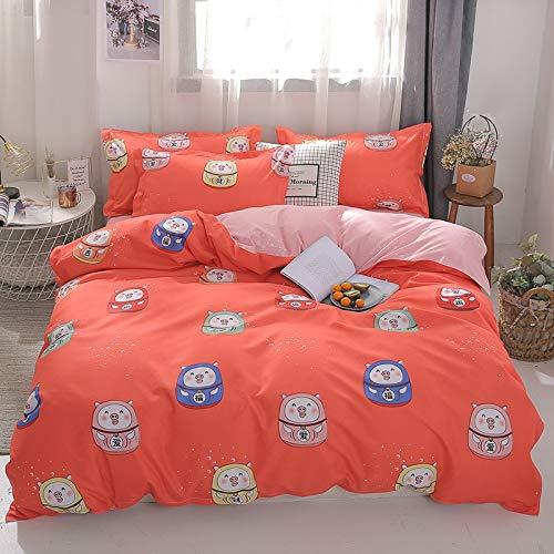 Sábanas de cuatro estaciones de estilo nórdico rosa corazón ropa de cama juego de cama encantador edredón edredón funda de cama y funda de almohada king size hogar textil conjunto 200x230cm4pcs 20
