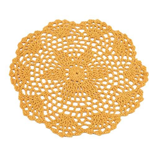 Pinhan Sottobicchieri lavorati a maglia, rotondi, con fiori all'uncinetto, filato, Curcuma 2, As show