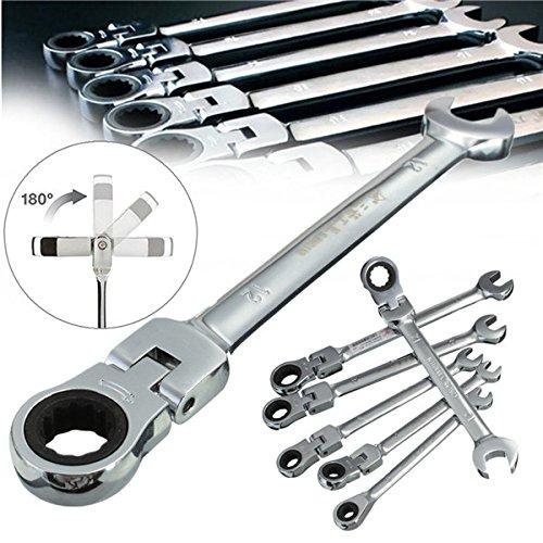 Juego de 6 llaves de combinación, 6 a 12 mm, flexibles, cabezales giratorios, llave inglesa, herramienta…