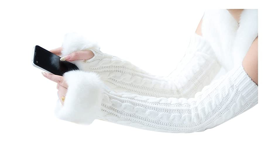 Women Winter Warm Knitted Fingerless Faux Fur Arm Long/Wrist/Short Gloves Mitten