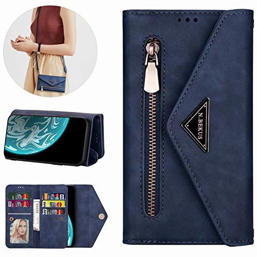 Miagon Galaxy A21S Crossbody Reißverschluss Hülle,Brieftasche Geldbörse Handtasche mit Schulterriemen Flip Kartenhalter Ständer PU Leder Cover für Samsung Galaxy A21S