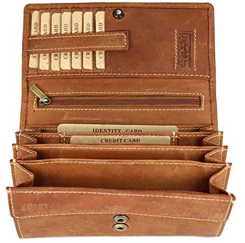 BELLI hochwertige Vintage Leder Damen Geldbörse Portemonnaie langes großes Portmonee Geldbeutel langes Portmonee aus weichem Leder in Cognac - 17,5x10x4cm (B x H x T)