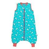 Schlummersack Saco de dormir para bebé con pies, verano, 0,5 tog, 90 cm de grosor, unicornio, saco de dormir con piernas sin forro para una estatura de 90-100 cm