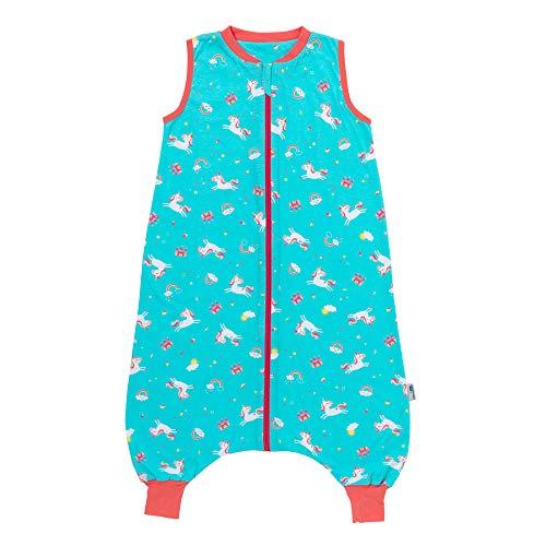 Schlummersack Saco de dormir con pies para verano, sin forro, 0,5 tog, sin forro, diseño de unicornio, 100 cm