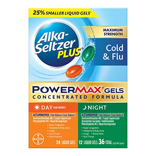 Alka-Seltzer Maximum Strength PowerMax Gels with Acetaminophen, Day and Night Cold and Flu Medicine for Adults, 36 Count